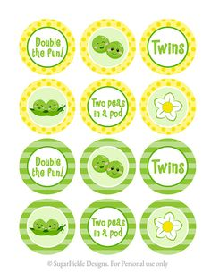 Twins Cupcake Toppers Baby Shower Twin Baby by SugarPickleParty