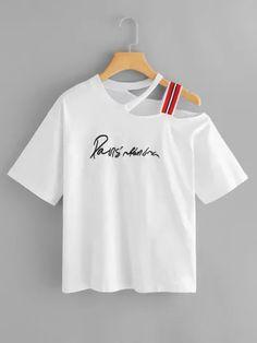 Shop Plus Asymmetrical Neck Slogan Embroidered Tee online. SheIn offers Plus Asymmetrical Neck Slogan Embroidered Tee & more to fit your fashionable needs. Girls Fashion Clothes, Teen Fashion Outfits, Clothes For Women, Womens Fashion, Dress Fashion, Fashion Fashion, Latest Fashion, Fashion Online, Fashion Ideas