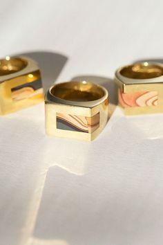 Legier Rings - Brass Faultline Wonderstone Signet Strip | BONA DRAG