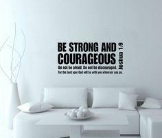 Seja forte e corajoso verso da bíblia escritura parede decalques de vinil adesivo de parede decoração em Papéis de parede de Casa & jardim no AliExpress.com   Alibaba Group