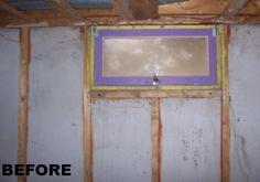 before egress window enlarging a dingy small basement window