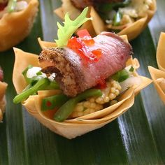 Chinese Duck and Crunchy Vegetable Canapes