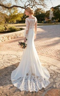 Long Sleeve Illusion Lace Hollywood-Inspired Wedding Dress by Essense of Australia