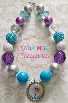 Frozen Elsa Chunky Bubblegum Necklace Chunky Bead Necklaces, Chunky Jewelry, Chunky Beads, Beaded Jewelry, Baby Jewelry, Kids Jewelry, Toddler Jewelry, Jewelry Making, Frozen Jewelry