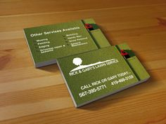 Business Card I did for a local lawn care company Lawn Care Business Cards, Company Business Cards, Business Card Design, Lawn Care Companies, Lawn Service, Painting Edges, Sample Resume, Vista Print, Card Designs