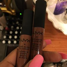 NYX Soft Matte Lip Cream in the shades Berlin & Dubai got Berlin. Love this formula Makeup 101, Makeup Dupes, Makeup Goals, Makeup Inspo, Lip Makeup, Makeup Cosmetics, Makeup Inspiration, Beauty Makeup, Lipstick For Dark Skin