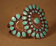 Vintage Navajo Sterling Silver Turquois Native American Cluster Cuff Bracelet