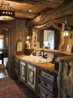 The wonders of western inspired interiors. The Enchanted Home The wonders of western inspired interiors. The Enchanted Home Rustic Bathroom Designs, Rustic Bathrooms, Bathroom Ideas, Bathroom Vanities, Log Cabin Bathrooms, Bathroom Cabinets, Wooden Bathroom, Dream Bathrooms, Western Bathrooms