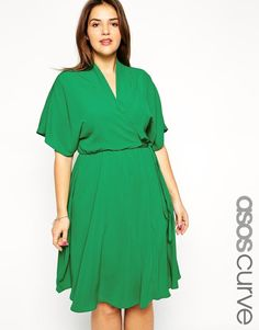 ASOS Curve | ASOS CURVE Obi Wrap Dress In Longer Length at ASOS