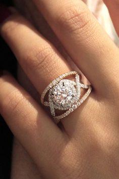 Gabriella 18k White And Rose Gold Round Split Shank Engagement Ring social image