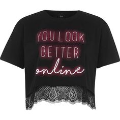 River Island Black neon print lace hem cropped T-shirt ($40) ❤ liked on Polyvore featuring tops, t-shirts, black, print t-shirts / tanks, t shirts / tanks, women, lace tee, print crop tops, crop tee and short sleeve crew neck t shirt
