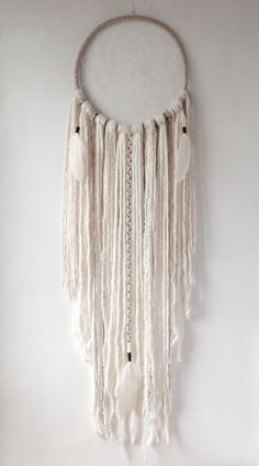 Ethereal Boho XL Cream Dream Catcher, Extra Large Dream Catcher 12, DreamCatcher, Wall Hanging, Wall Decor, Willow, Boho Wedding, Nursery by owlsroadstudio on Etsy https://www.etsy.com/uk/listing/469800347/ethereal-boho-xl-cream-dream-catcher