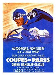 AP802 - Coup de Paris, Artist: Geo Ham, Motor Racing Poster 1939