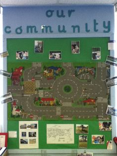 Make your own local community board. Using an old car mat, drawings and photographs. EYFS Links: Understanding The World Eyfs Activities, Nursery Activities, Preschool Rooms, Community Boards, Community Helpers, Transport Topics, Road Transport, Eyfs Classroom, Classroom Displays Eyfs