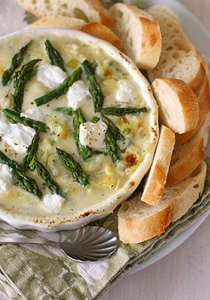 Spring Vegetable and Goat Cheese Dip with Artichokes and Asparagus