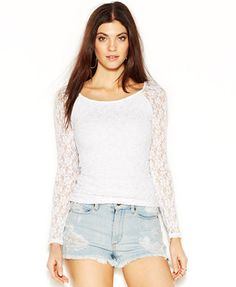 f66401a10ad GUESS Long-Sleeve V-Back Lace-Overlay Top Women - Tops - Macy s