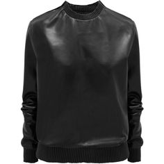 Givenchy Black soft nappa leather sweatshirt ($1,262) ❤ liked on Polyvore featuring tops, hoodies, sweatshirts, sweaters, jumper, shirts, black, givenchy, sleeve shirt and givenchy top