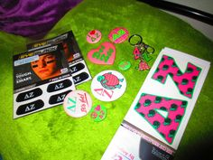 Mascot letter decal for my car, buttons, key chain, and eye black stickers for the games. Delta Zeta <3