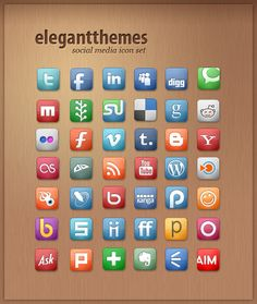 Imagery investigation: ElegantThemes social media icon set. No Google+ though. Or Dribble (still deciding if I should get on there). Or Pinterest.