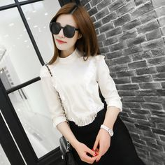 2015 spring women fringed collar long-sleeved shirt solid color short paragraph USD$13.92