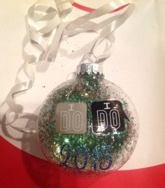 I do I do Our First Christmas Glitter Ornament Great Gift by HopesSassyGlass on Etsy