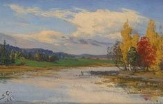 Autumn Landscape - oil on wood - Syysmaisema 1877 - Fanny Churberg (Finnish 1845 - Cool Landscapes, Art Pictures, Finland, Autumn Colours, Artist, Painting, Oil, Impressionism, Art Images
