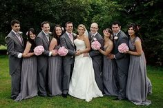 pink/grey wedding add some yellow touches