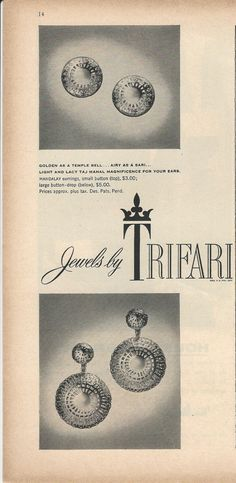 1957 TRIFARI LIght & Lacy Taj Mahal Golden as Temple Bell Mandalay Button,Drop Earrings Vintage Costume Jewelry Photo Print Advertisement