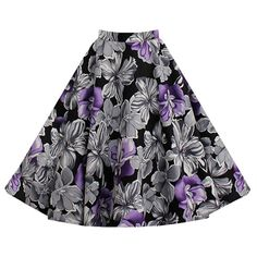 Relipop Women Girl Cute Floral Pleated Knee Length A-line Skater Skirt (Small, Type 3)