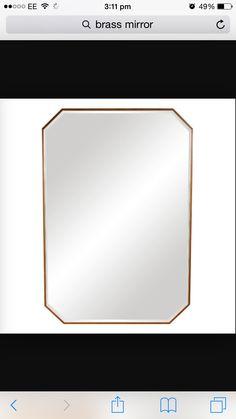 Cut corner brass frame mirror