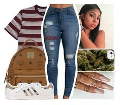 """""""  12:58pm"""" by lamamig ❤ liked on Polyvore featuring Brixton, MCM and adidas Originals"""
