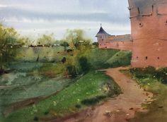Ещё немного пасмурного акварельного Суздаля.   One more watercolor of Suzdal  #акварель #пленэр #суздаль  #watercolor #pleinair #suzdal