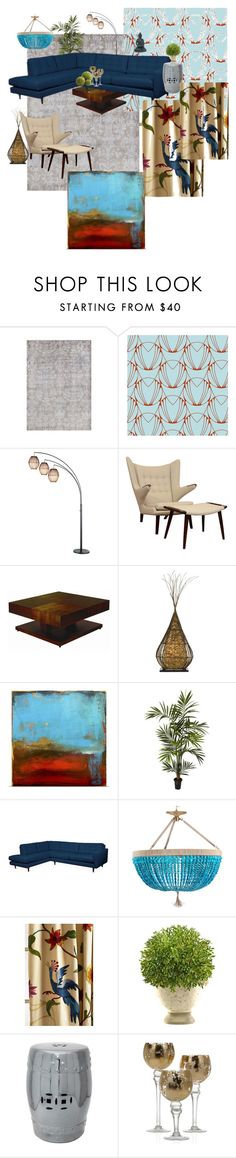 Modern Living Room by dido-534 on Polyvore featuring interior, interiors, interior design, home, home decor, interior decorating, Allan Copley Designs, Ro Sham Beaux, Cal Lighting and Adesso