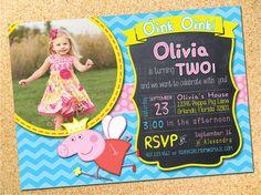 Peppa Pig Inspired Birthday Party Photo Invitation by Owen & Sally Designs