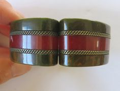 "Hinged cuff,1"" Wide, .5"" thick. Vintage tested Bakelite 1930s/1940s Art by CatttywampusVintage"