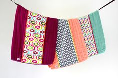 Baby Burp Cloth Gift Set of 3, Colorful Geometric Retro Chevron. by owesley on Etsy