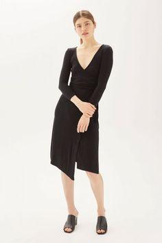 Topshop Belted Wrap Midi Dress - Black