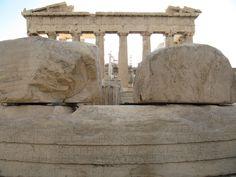 Parthenon behind the ancient greek inscription!