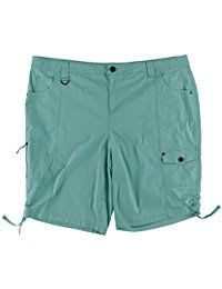 Womens Plus Ruched Hem Cargo Bermuda Shorts -- Continue to the product at the image link.