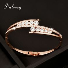 SINLEERY 2017 Fashion White Cubic Zircon Smooth Bangle Bracelets Cuff For Women Girl Rose Gold Color Sl311 #Affiliate