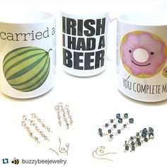 Here's not 1, not 2, but 3 of my punny mugs being enjoyed by @buzzybeejewelry - and those lovely pieces of jewelry you see are handmade by her!  Mugs available at: https://society6.com/avenger/mugs  #ALittleLeafy #buzzybeejewelry #s6 #society6 #shareyoursociety6 #icarriedawatermelon #irishihadabeer #youcompleteme #punny #puns #pun #funny #funnymug #funnymugs #foodpun #foodpuns #swarovski #swarovskicrystal #handmadejewelry