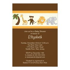 Jungle Safari Animal Neutral Baby Shower Announcements