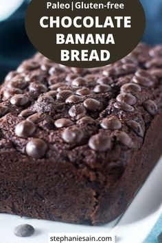 This Chocolate Almond Flour Banana bread is moist chocolatey and perfect for snacking on or a yummy breakfast.So easy to prepare in one bowl . Flours Banana Bread, Gluten Free Banana Bread, Chocolate Banana Bread, Low Carb Chocolate, Gluten Free Chocolate, Banana Bread Recipes, Vegan Chocolate, Gluten Free Treats, Gluten Free Cakes