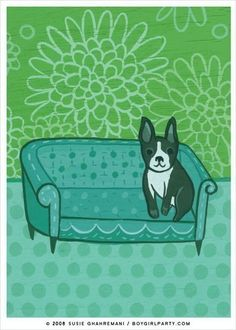 BOSTON TERRIER art print by Susie Ghahremani, dog artwork giclee reproduction...more from boygirlparty (Etsy)
