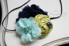 Hey, I found this really awesome Etsy listing at https://www.etsy.com/listing/160667378/navy-aqua-and-green-flower-headband-navy