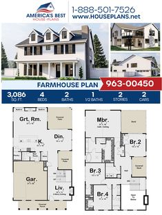 Get a load of this beautiful Farmhouse! Plan 963-00450 details 3,086 sq. ft., 4 bedrooms, 2.5 bathrooms, a kitchen island, an open floor plan, a flex room, a media room, and a mudroom. #farmhouse #twostoryhome #openfloorplan #architecture #houseplans #housedesign #homedesign #homedesigns #architecturalplans #newconstruction #floorplans #dreamhome #dreamhouseplans #abhouseplans #besthouseplans #newhome #newhouse #homesweethome #buildingahome #buildahome #residentialplans #residentialhome Best House Plans, Dream House Plans, Farmhouse Homes, Farmhouse Plans, Pantry Room, Flex Room, Two Story Homes, Open Floor