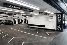 Environmental graphics for a Midtown Manhattan parking garage. Park Signage, Wayfinding Signage, Signage Design, Map Design, Parking Signs, Parking Lot, Car Parking, Environmental Graphic Design, Environmental Graphics