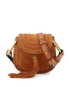 Chloe suede shoulder bag with calfskin trim. Studs frame exterior of…