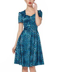 Blue Leopard Sweetheart Fit & Flare Dress