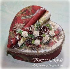 My Craft and Garden Tales: A paper heart box for StampARTic using Prima and Mathia Design products; Mar 2014